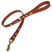Creature Clothes - Tan Brass Bones Classic Leather Dog Lead