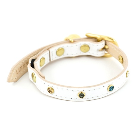White Leather Cat Collar with Multi-coloured Crystals 2