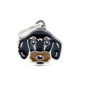 My Family - Wire-Haired Dachshund Engraved ID Tag – Black
