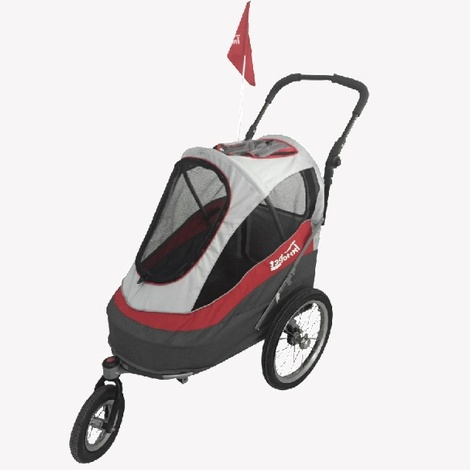 Red/Off White Sporty Dog Trailer DeLuxe