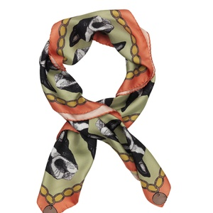 Boston Terrier Print Silk Scarf - Mint & Coral