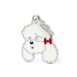 Poodle Engraved ID Tag – White