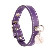 Chihuy - Amethyst and Silver Stitch Leather Collar