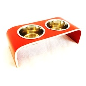 Lola and Daisy - Red Raised Cat & Dog Feeder