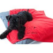 PetsPyjamas - Personalised Red Snooze Pet Blanket - Italic font