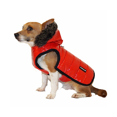 Brighton Bubble Hoodie Dog Coat - Red