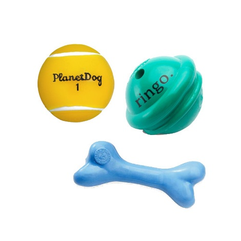 Orbee Tuff Tennis Ball, Ringo, Blue Bone Bundle