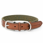 Mutts & Hounds - Forest Green Tweed & Tan Leather Collar