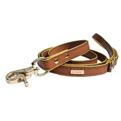 DO&G - DO&G Precious Leather Dog Lead - Brown/Gold