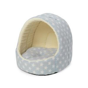 Fleece Star Hooded Kitten Bed - Blue