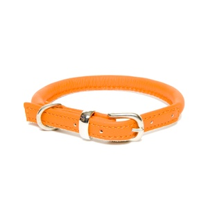 D&H Rolled Leather Collar - Orange
