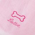 Personalised Baby Pink Bone Dog Towel - Italic font 2