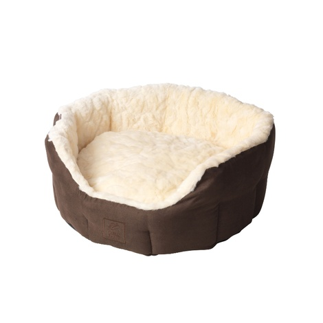 Cream Faux Fur & Suede Oval Snuggle Dog Bed