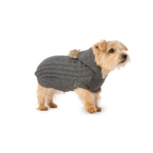 Cable Knit Dog Hoody – Grey