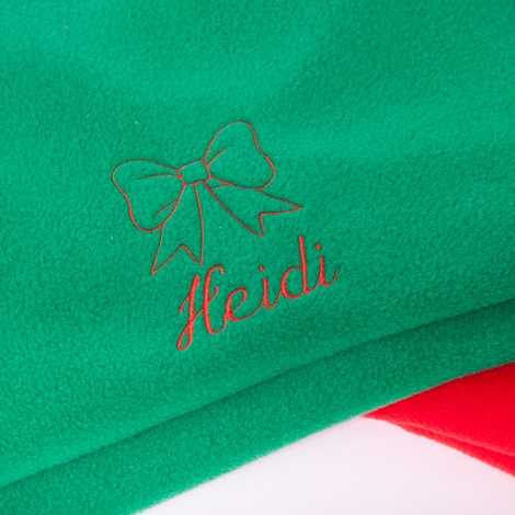 Personalised Green Christmas Blanket - Italic font 2