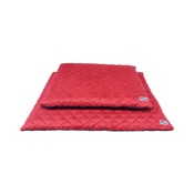 Hem & Boo - Quilted Flat Dog Bed - Brick Red & Brown