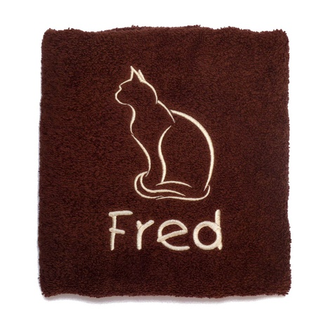 Personalised Cat Towel –  Chocolate