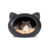 GuisaPet - Black Cat Cave with Beige Cushion