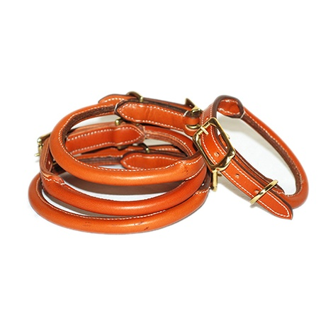 Rolled Leather Dog Collar - Tan