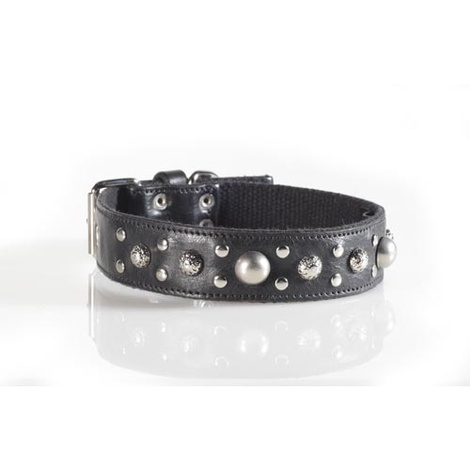 Fashion Dog Collar with Disco Ball Studding in Black