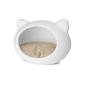 White Cat Cave with Beige Cushion 3
