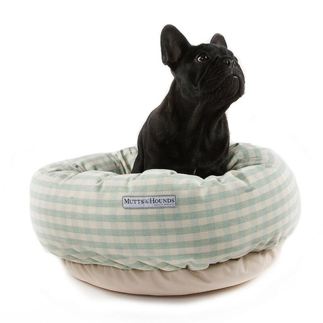 Mint Check Cotton Donut Bed 3