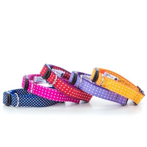"""Polka Dot Dog Collar - Pink  1"""" Width 2"""