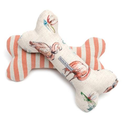 Orange Striped Squeaky Bone Dog Toy 3
