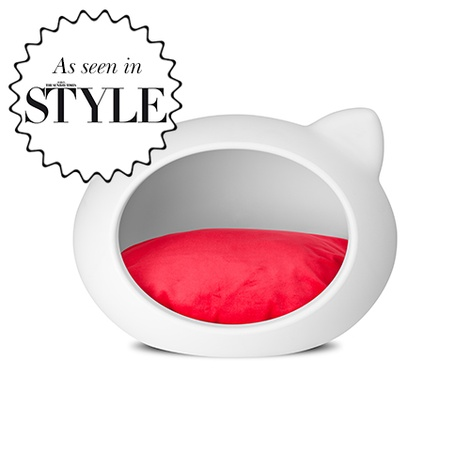 White Cat Cave with Red Cushion