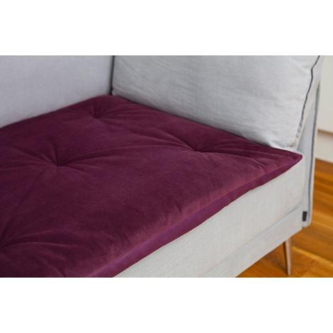 Plush Velvet Sofa Topper - Plum 2