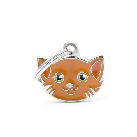 Cat Engraved ID Tag – Orange