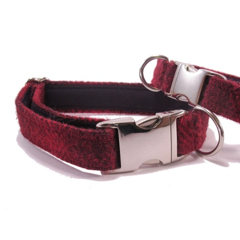 Red Check Harris Tweed Dog Collar 3