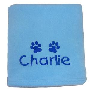 Personalised Fleece Puppy Blanket - Pale Blue