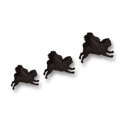 Set of 3 Flying Pugs - Black