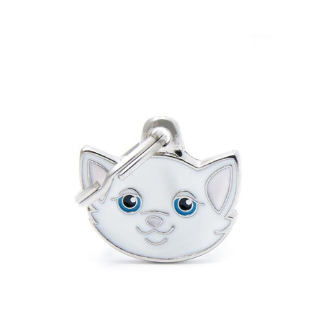 Cat Engraved ID Tag – White