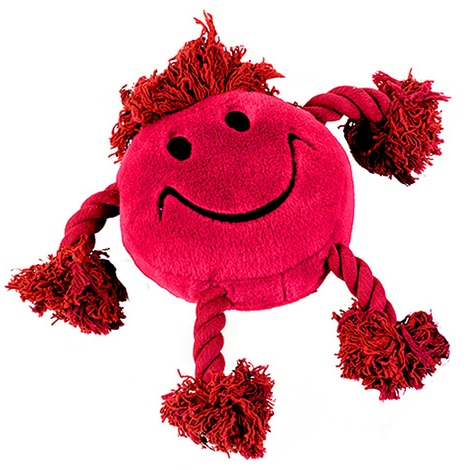 Happy Face Plush Dog Toy – Red