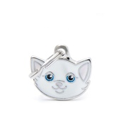 My Family - Cat Engraved ID Tag – White