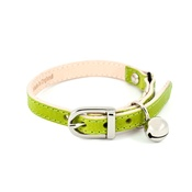 Linny - Lime Leather Cat Collar