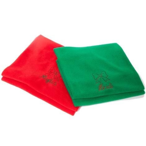 Personalised Green Christmas Blanket - Italic font 3