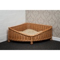 Luxury Wicker Dog Corner Basket with Dark Cushion 3