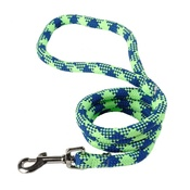 Yellow Dog - Braided Dog Lead – Fluorescent Green & Blue