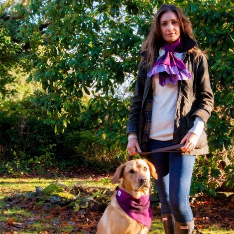Check Harris Tweed Dog Bandana & Owner Scarf - Fuchsia 6