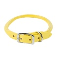 Rolled Leather Dog Collar – Yellow