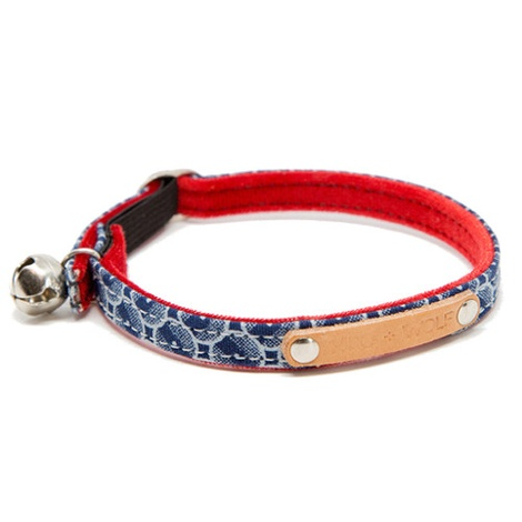 Shweshswe Navy Circles Cat Collar