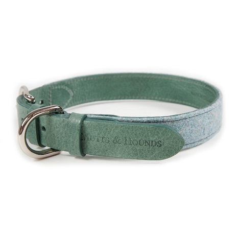 Teal Tweed & Leather Dog Collar 3