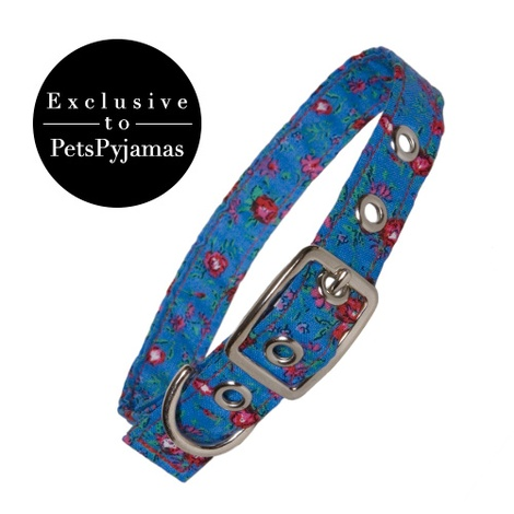 Blue Rose Print Fabric Dog Collar