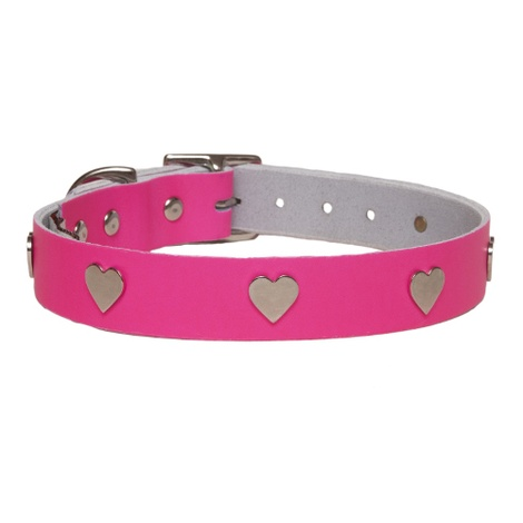 Galaxy Dog Collar - Pink, Nickel Hearts