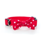 "Pet Pooch Boutique - Red Polka Bowtie Dog Collar 1"" Width"