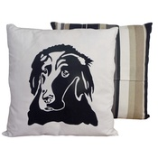 Tomato Catshop - Flat Coat Retriever Onyx Stripe Cushion