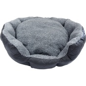 Hem & Boo - Quilted Oval Fleece Dog Bed - Grey